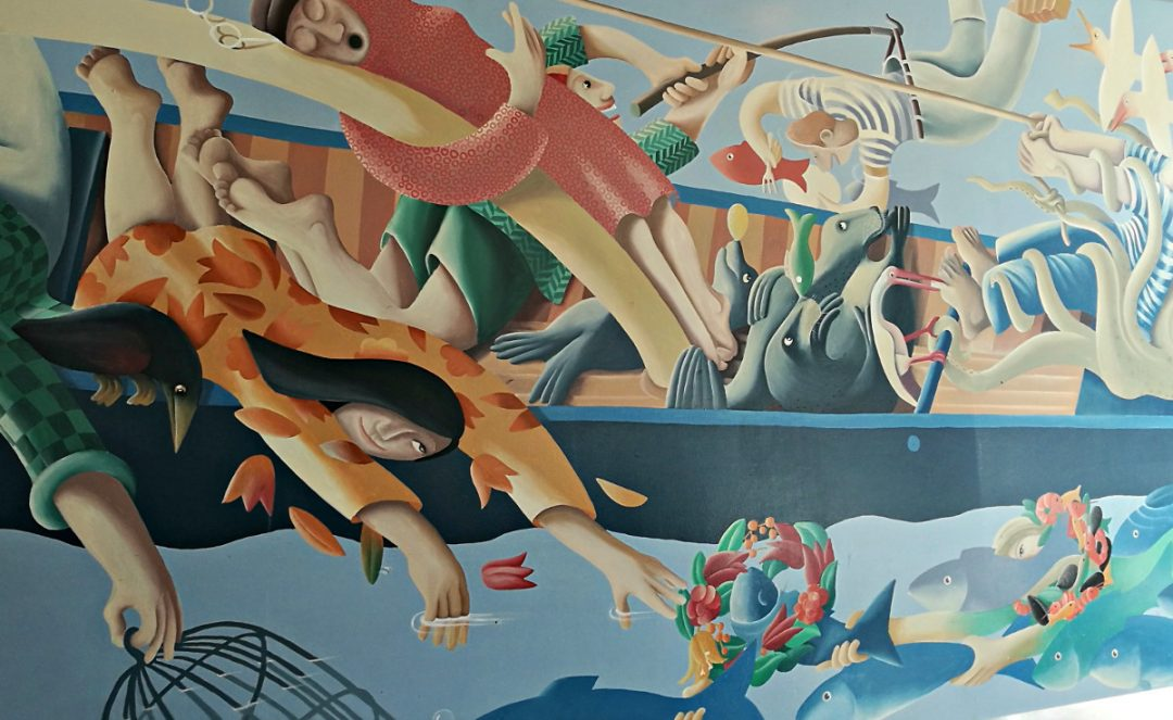 Mural on the Mures restaurant wall, Hobart waterfront