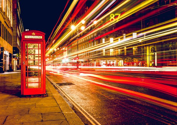 red phone box and time-lapse lights