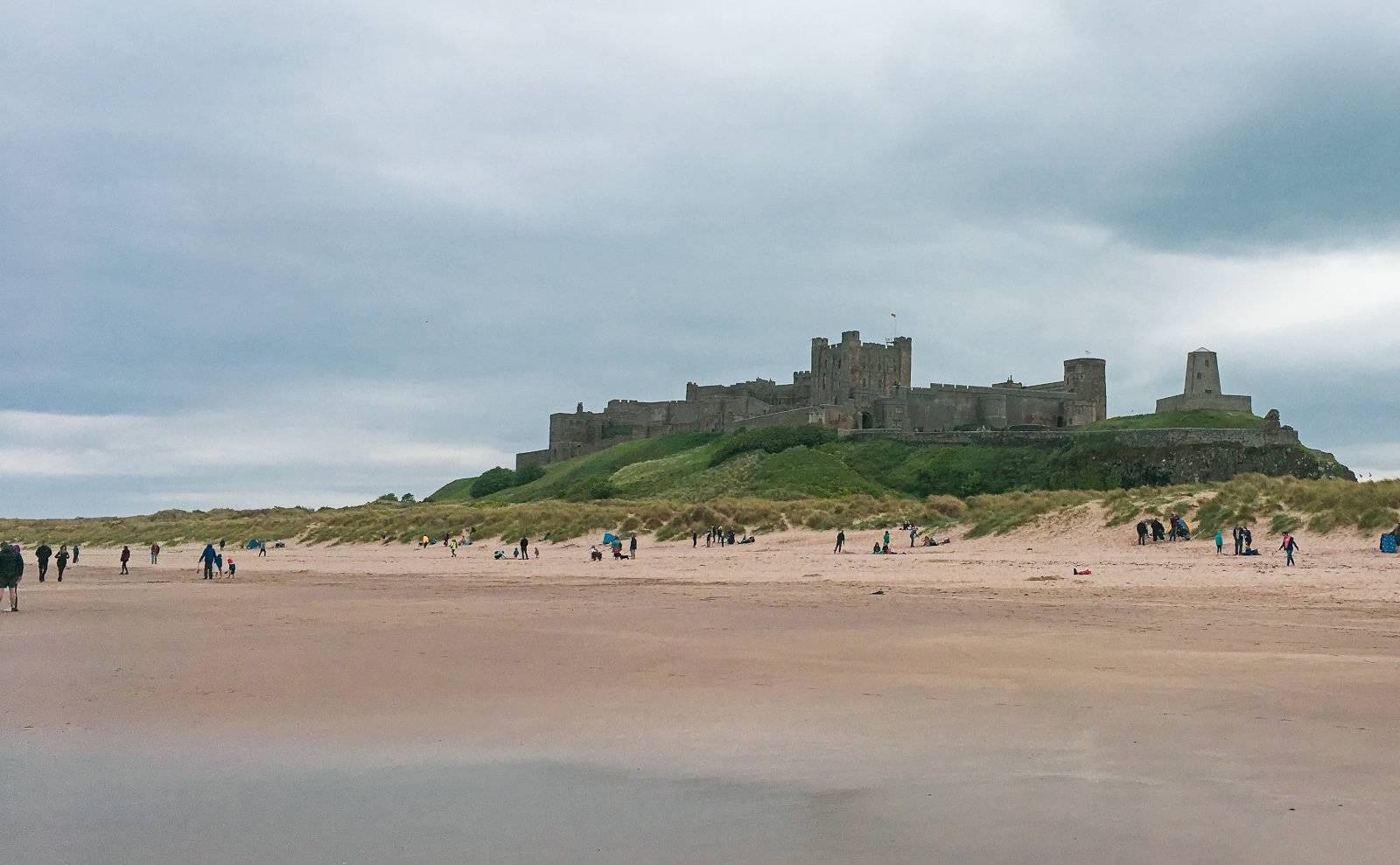 The real life version of Bamburgh Castle which features in Forza Horizon 4.