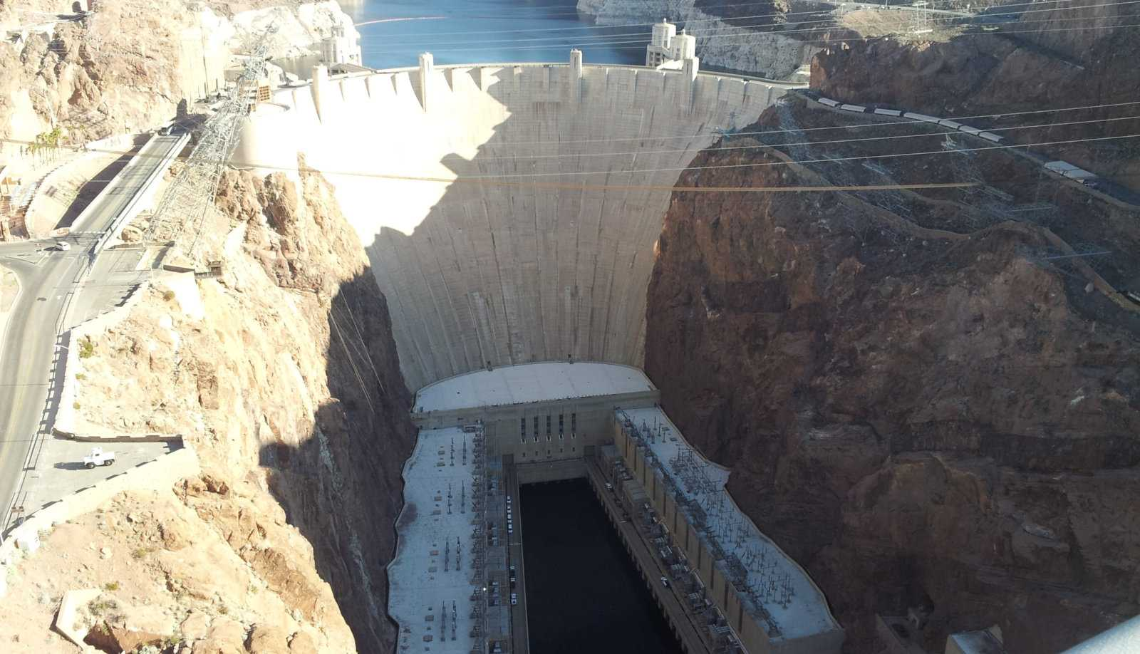 The real-life Hoover Dam, which you can explore up close while playing Fallout New Vegas.
