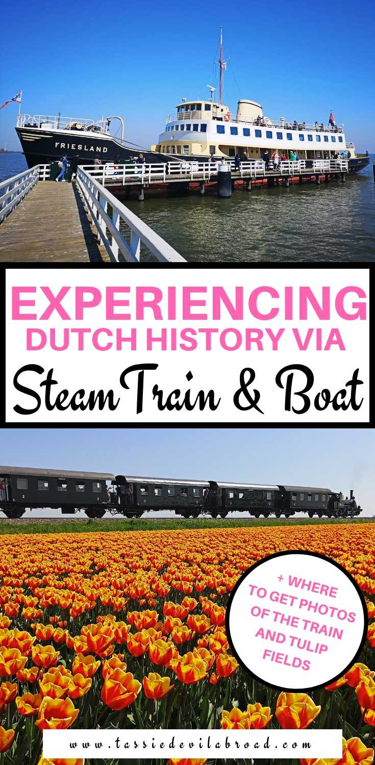 How to see tulips from a historic steam train in the Netherlands, as well as where to get photos of the train with tulips! #travel #netherlands #tulips #steamtrain