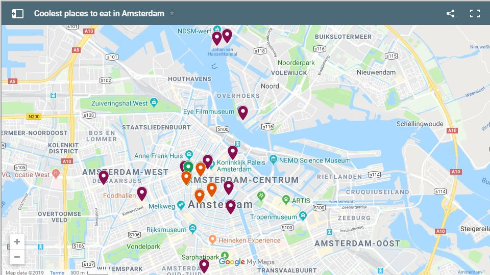 A map of the coolest places to eat in Amsterdam
